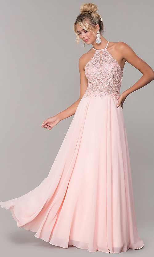 Image of high-neck blush pink long backless prom dress. Style: DQ-PL-2692 Front Image