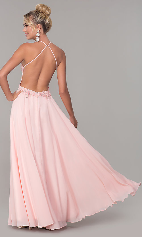 Image of high-neck blush pink long backless prom dress. Style: DQ-PL-2692 Back Image