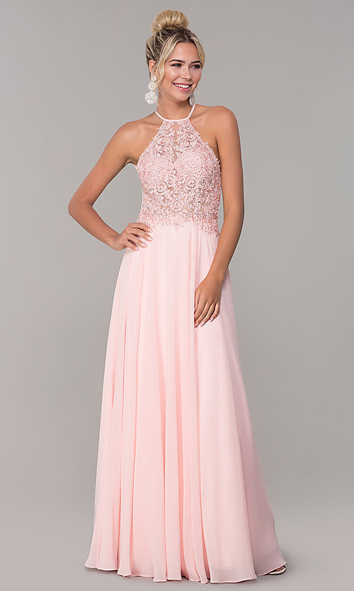 Image of high-neck blush pink long backless prom dress. Style: DQ-PL-2692 Detail Image 3
