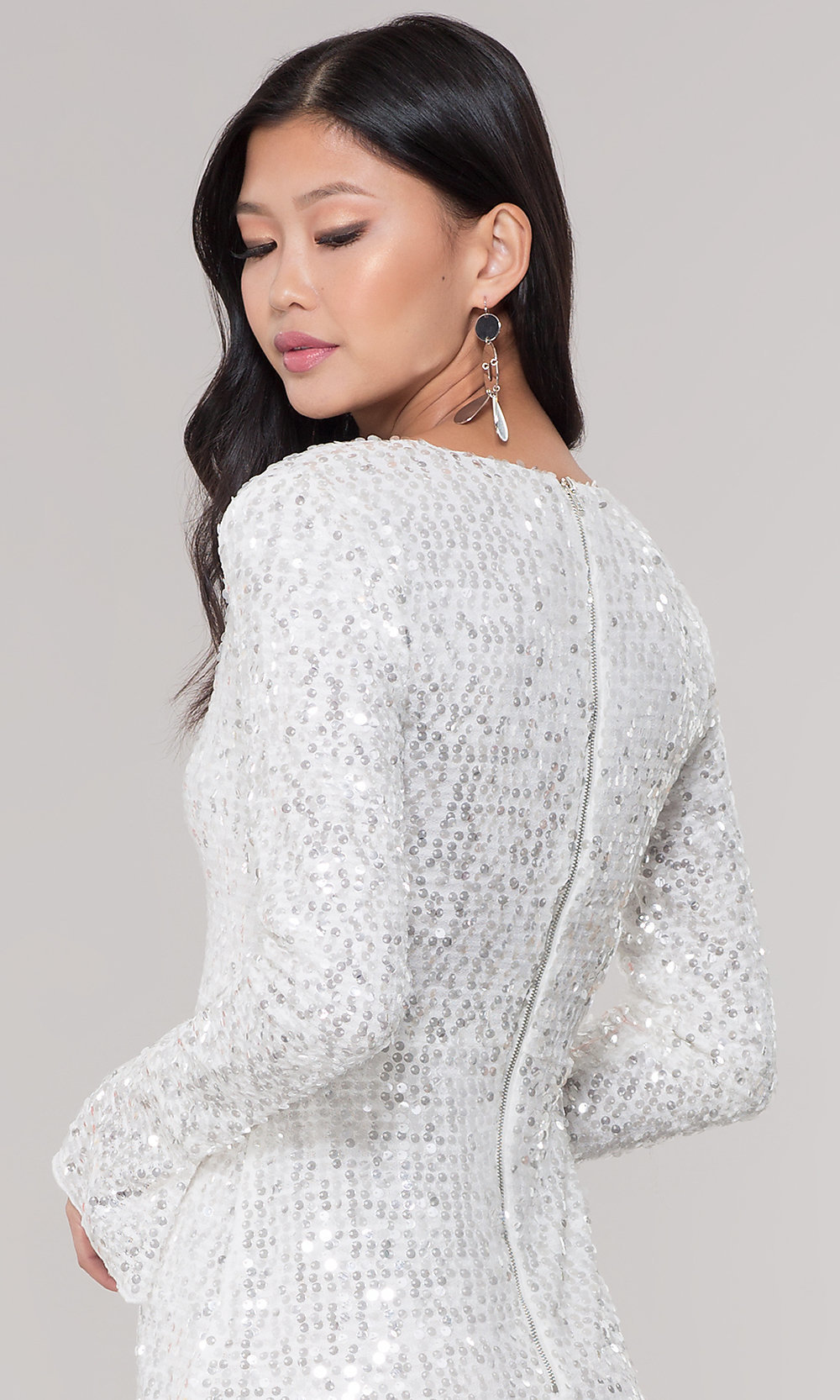White Sequin Long-Sleeve Short Holiday Party Dress