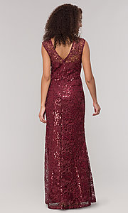 Image of long claret red mother-of-the-bride lace dress.  Style: IT-7120139 Back Image