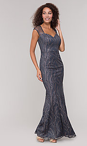 Image of long mother-of-the-bride glitter dress in grey. Style: IT-7133111 Detail Image 3