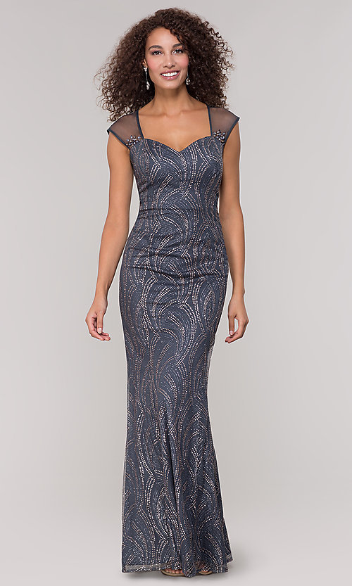 Image of long mother-of-the-bride glitter dress in grey. Style: IT-7133111 Front Image
