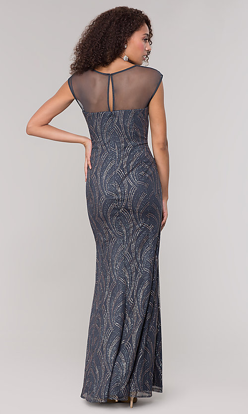 Image of long mother-of-the-bride glitter dress in grey. Style: IT-7133111 Back Image