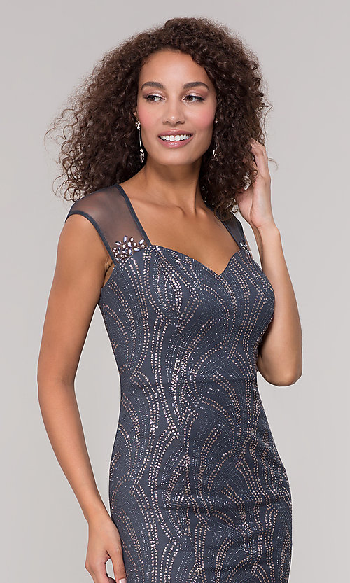 Image of long mother-of-the-bride glitter dress in grey. Style: IT-7133111 Detail Image 1