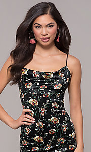 Image of open-back floral-print little black party dress. Style: RO-R68781 Detail Image 1