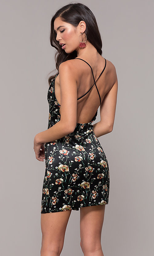 Image of open-back floral-print little black party dress. Style: RO-R68781 Back Image