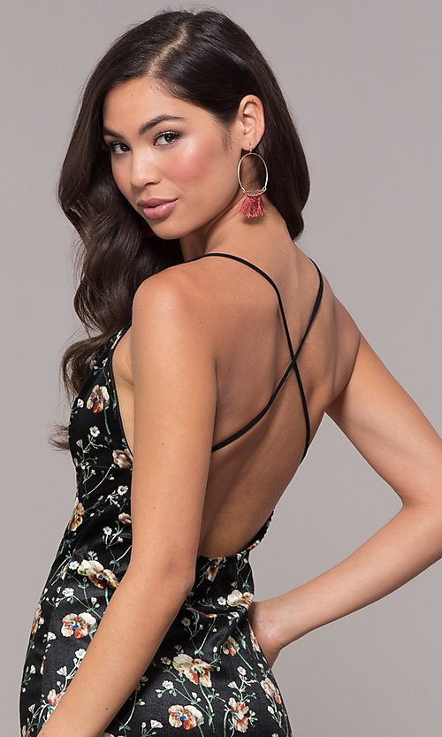 Image of open-back floral-print little black party dress. Style: RO-R68781 Detail Image 2