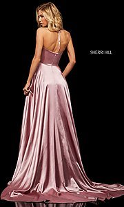 Image of long Sherri Hill v-neck formal dress with train. Style: SH-52921 Back Image