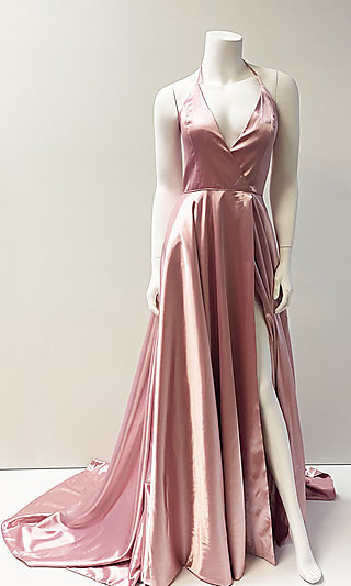 Long V-Neck Satin Formal Prom Dress with Train