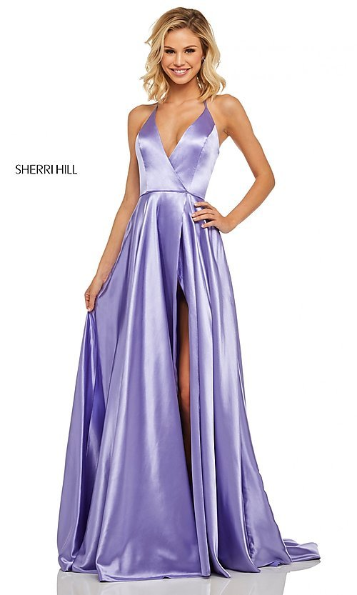 Image of long Sherri Hill v-neck formal dress with train. Style: SH-52921 Detail Image 1