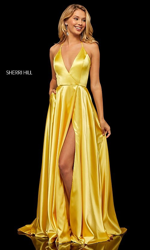 Image of long Sherri Hill v-neck formal dress with train. Style: SH-52921 Detail Image 3