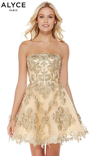 Lace Homecoming Dress with a Corset Back by Alyce