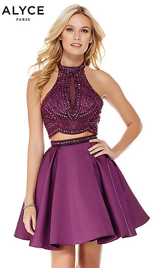 Short Fit-and-Flare Halter Homecoming Dress