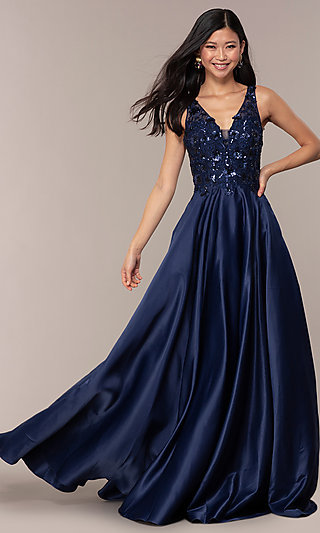 Long Prom Dress with V-Neck Sequin Bodice