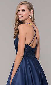 Image of embroidered-bodice long prom dress with pockets. Style: DQ-2625 Detail Image 2