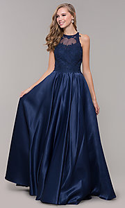 Image of embroidered-bodice long prom dress with pockets. Style: DQ-2625 Detail Image 3