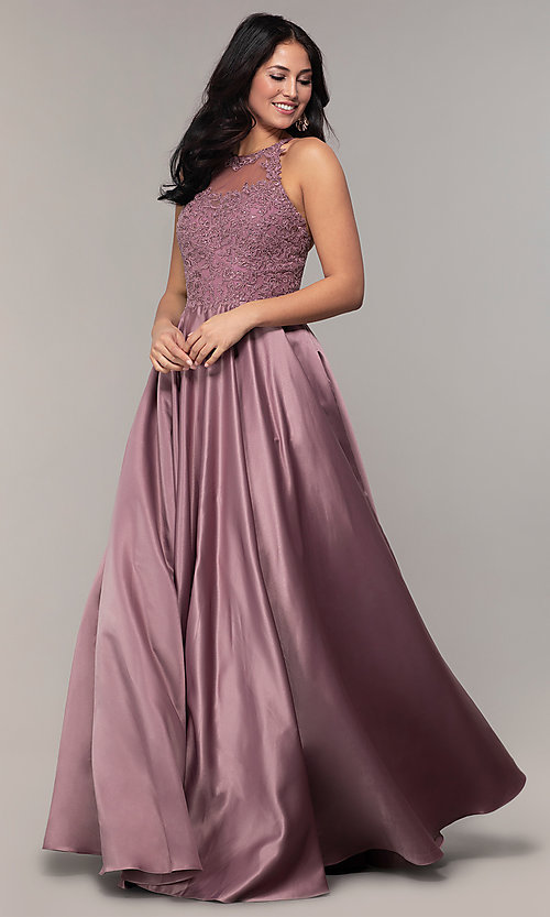 Image of embroidered-bodice long prom dress with pockets. Style: DQ-2625 Detail Image 4