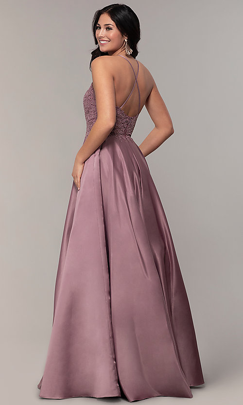 Image of embroidered-bodice long prom dress with pockets. Style: DQ-2625 Back Image