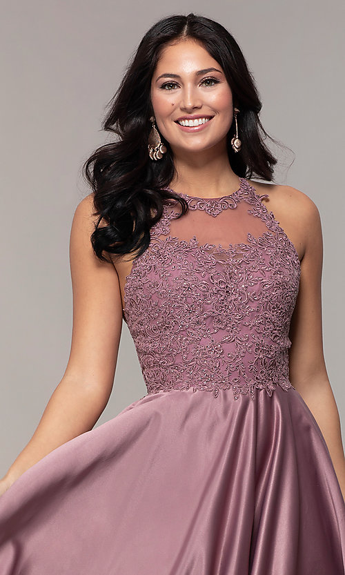 Image of embroidered-bodice long prom dress with pockets. Style: DQ-2625 Detail Image 6