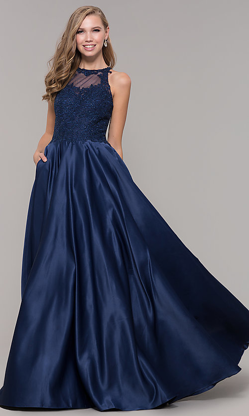 Image of embroidered-bodice long prom dress with pockets. Style: DQ-2625 Front Image