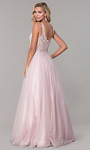 Image of embroidered-bodice long dusty pink tulle prom dress. Style: DQ-2626 Back Image