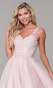 Image of embroidered-bodice long dusty pink tulle prom dress. Style: DQ-2626 Detail Image 1
