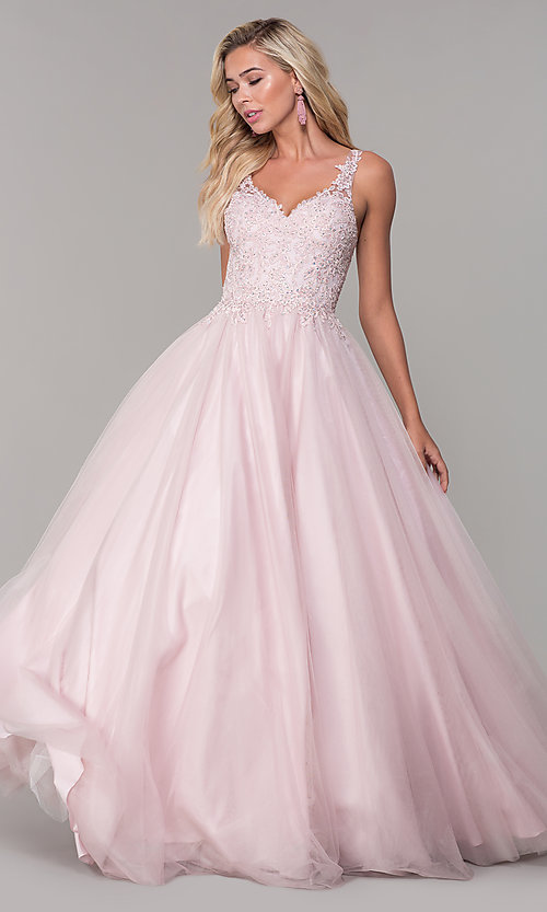 Image of embroidered-bodice long dusty pink tulle prom dress. Style: DQ-2626 Front Image
