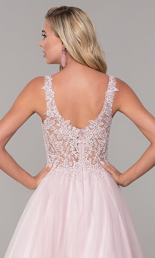Image of embroidered-bodice long dusty pink tulle prom dress. Style: DQ-2626 Detail Image 2