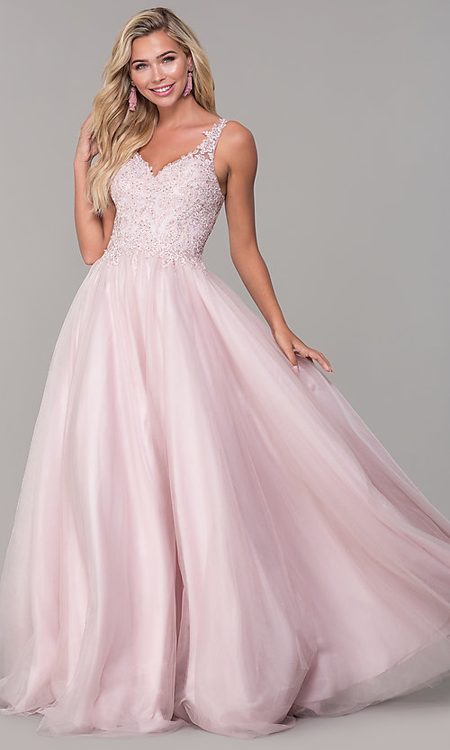 Image of embroidered-bodice long dusty pink tulle prom dress. Style: DQ-2626 Detail Image 3