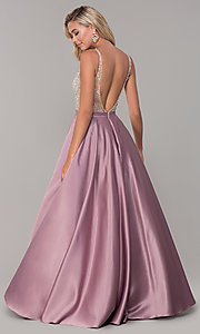 Image of a-line long v-neck prom dress with pockets. Style: DQ-2568 Detail Image 5