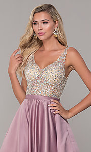 Image of a-line long v-neck prom dress with pockets. Style: DQ-2568 Detail Image 6