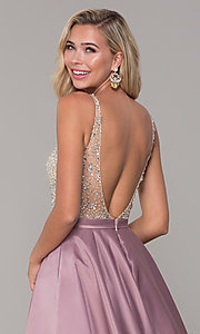 Image of a-line long v-neck prom dress with pockets. Style: DQ-2568 Detail Image 7