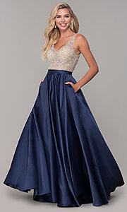 Image of a-line long v-neck prom dress with pockets. Style: DQ-2568 Front Image