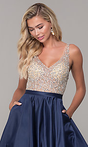 Image of a-line long v-neck prom dress with pockets. Style: DQ-2568 Detail Image 1