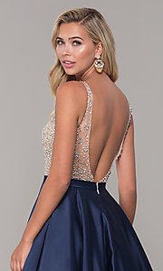 Image of a-line long v-neck prom dress with pockets. Style: DQ-2568 Detail Image 2