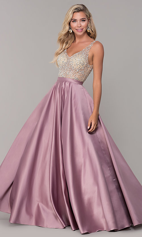Image of a-line long v-neck prom dress with pockets. Style: DQ-2568 Detail Image 4