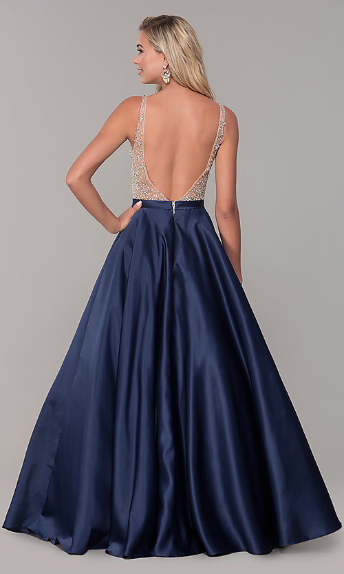 Image of a-line long v-neck prom dress with pockets. Style: DQ-2568 Back Image