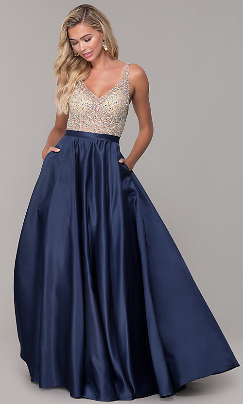 Image of a-line long v-neck prom dress with pockets. Style: DQ-2568 Detail Image 3