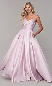 Image of v-neck long dusty pink classic prom dress Style: DQ-PL-2640 Front Image