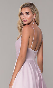Image of v-neck long dusty pink classic prom dress Style: DQ-PL-2640 Detail Image 2