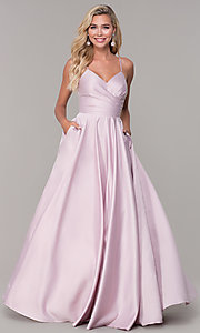 Image of v-neck long dusty pink classic prom dress Style: DQ-PL-2640 Detail Image 3
