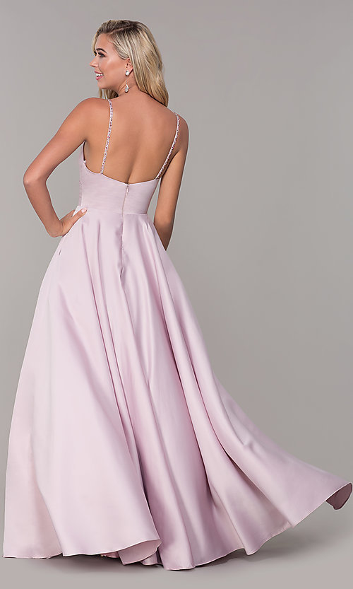 Image of v-neck long dusty pink classic prom dress Style: DQ-PL-2640 Back Image