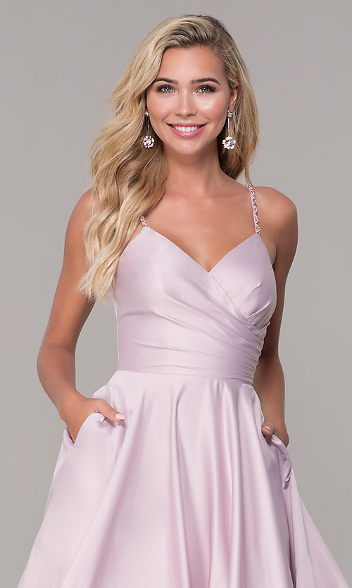 Image of v-neck long dusty pink classic prom dress Style: DQ-PL-2640 Detail Image 1