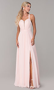 Image of long sleeveless pleated-bodice chiffon prom dress. Style: DQ-2541 Detail Image 3
