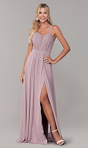 Image of long sleeveless pleated-bodice chiffon prom dress. Style: DQ-2541 Front Image