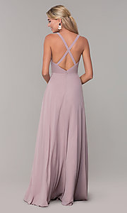 Image of long sleeveless pleated-bodice chiffon prom dress. Style: DQ-2541 Back Image