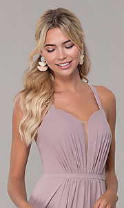Image of long sleeveless pleated-bodice chiffon prom dress. Style: DQ-2541 Detail Image 1