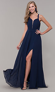 Image of long sleeveless pleated-bodice chiffon prom dress. Style: DQ-2541 Detail Image 2