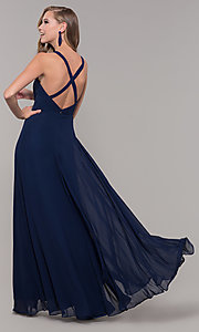 Image of long sleeveless pleated-bodice chiffon prom dress. Style: DQ-2541 Detail Image 7
